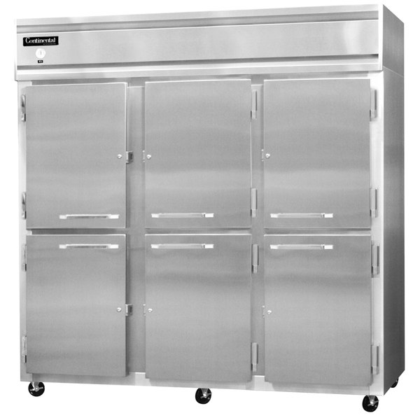 "Continental Refrigerator 3F-SS-HD 78"" Half Door Reach-In Freezer - 70 Cu. Ft."