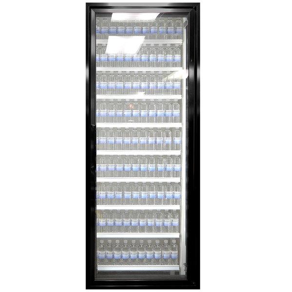 """Styleline CL2672-HH 20//20 Plus 26"""" x 72"""" Walk-In Cooler Merchandiser Door with Shelving - Satin Black, Right Hinge"""
