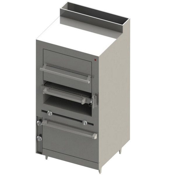 Blodgett BSHBR-36H-36-NAT Cafe Series Natural Gas Upright Radiant Broiler with Standard Oven Base and Warming Oven - 125,000 BTU
