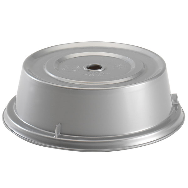"""Cambro 1013CW486 Camwear 10 13/16"""" Silver Metallic Camcover Plate Cover - 12/Case"""