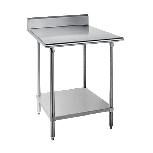 "Advance Tabco KAG-363 36"" x 36"" 16 Gauge Stainless Steel Commercial Work Table with 5"" Backsplash and Galvanized Undershelf"