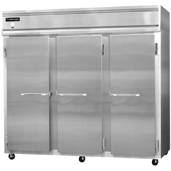 """Continental Refrigerator 3RES-SS 86"""" Extra Wide Shallow Depth Reach-In Refrigerator - 63 Cu. Ft."""