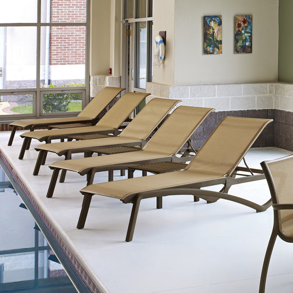 Grosfillex US246599 Sunset Fusion Bronze Chaise Lounge with Cognac Sling Seat - 2/Pack Main Image 2