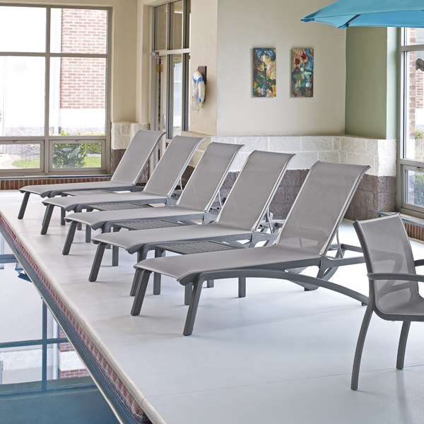 Grosfillex US246289 Sunset Platinum Gray Chaise Lounge with Solid Gray Sling Seat - 2/Pack
