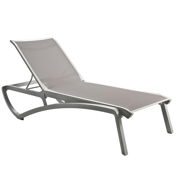 Grosfillex US430289 Sunset Platinum Gray Chaise Lounge with Solid Gray Sling Seat - 2/Pack