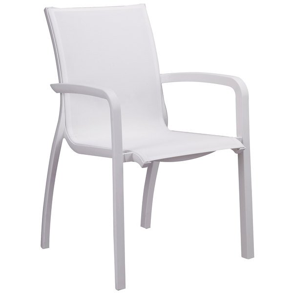 Case of 16 Grosfillex XA645096 / US645096 Sunset White Resin Stacking Sling Arm Chair with Glacier White Frame
