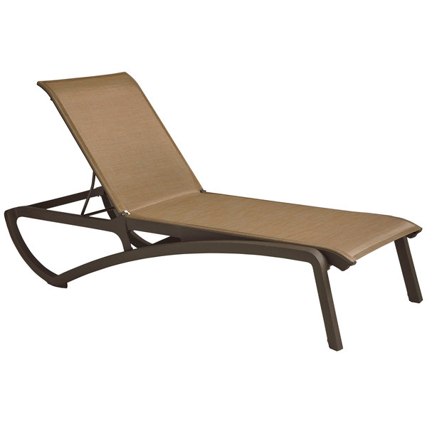 Grosfillex Us346599 Sunset Fusion Bronze Chaise Lounge With Cognac Sling Seat 12 Case