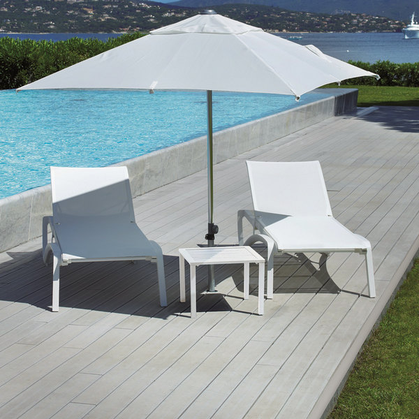 Grosfillex US033096 Sunset Glacier White Chaise Lounge with White Sling Seat - 2/Pack