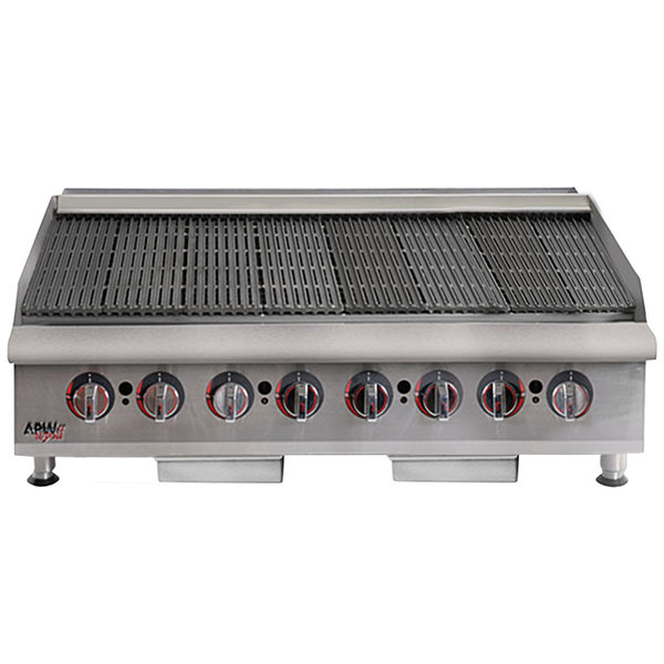 "APW Wyott HCRB-2448i Natural Gas 48"" HD Cookline Lava Rock Charbroiler - 160,000 BTU"