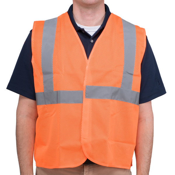 Orange Class 2 High Visibility Surveyor's Safety Vest with Hook & Loop Closure - Large