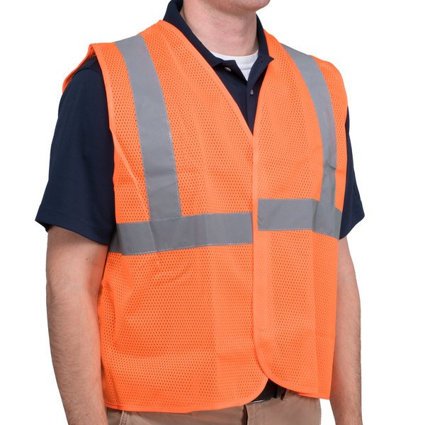 Orange Class 2 High Visibility Surveyor's Safety Vest with Hook & Loop Closure - Large Main Image 1