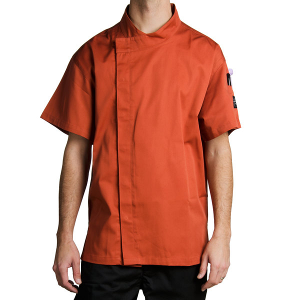 Chef Revival Bronze Cool Crew Fresh Size 36 (S) Spice Orange Customizable Chef Jacket with Short Sleeves and Hidden Snap Buttons