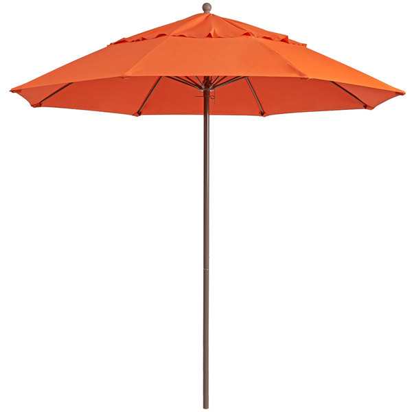 "Grosfillex 98801931 Windmaster 9' Orange Fiberglass Umbrella with 1 1/2"" Aluminum Pole Main Image 1"