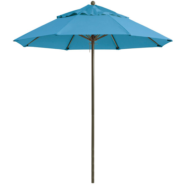 "Grosfillex 98819431 Windmaster 9' Sky Blue Fiberglass Umbrella with 1 1/2"" Aluminum Pole"