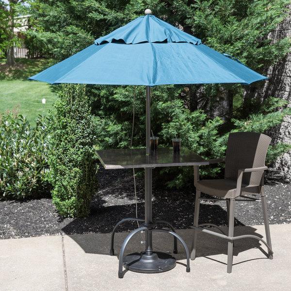 "Grosfillex 98319431 Windmaster 7 1/2' Sky Blue Fiberglass Umbrella with 1 1/2"" Aluminum Pole"