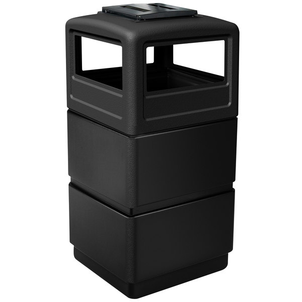 Commercial Zone 73260199 PolyTec Series Black 38 Gallon Three-Tier Trash Can with Ashtray Lid Main Image 1