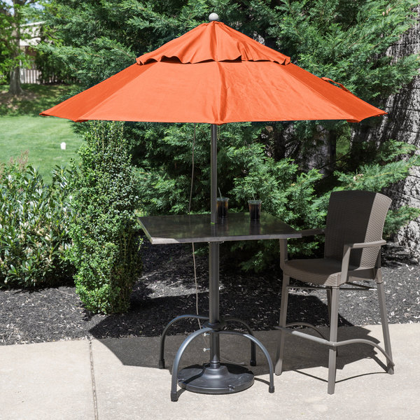 "Grosfillex 98301931 Windmaster 7 1/2' Orange Fiberglass Umbrella with 1 1/2"" Aluminum Pole Main Image 3"