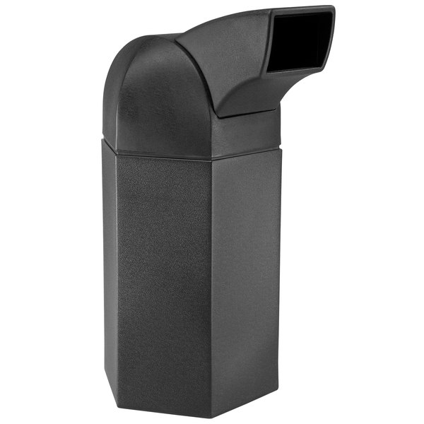 Commercial Zone 73780199 PolyTec Series Black 50 Gallon Hexagon Trash Can with Drive Thru Lid