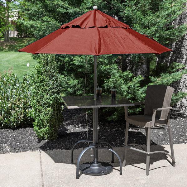 "Grosfillex 98318231 Windmaster 7 1/2' Terra Cotta Fiberglass Umbrella with 1 1/2"" Aluminum Pole Main Image 3"