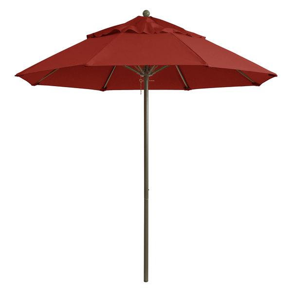 "Grosfillex 98318231 Windmaster 7 1/2' Terra Cotta Fiberglass Umbrella with 1 1/2"" Aluminum Pole"