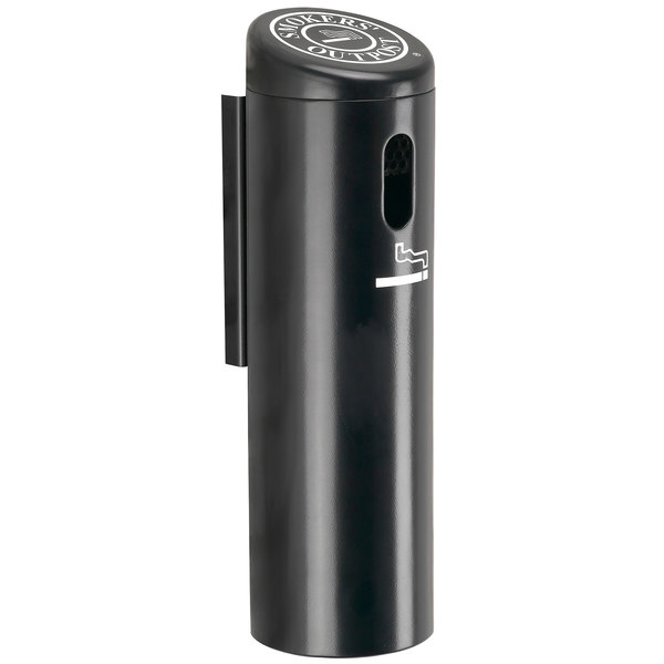 Commercial Zone 711201 Black Wall Mounted Smokers' Outpost Cigarette Receptacle Main Image 1