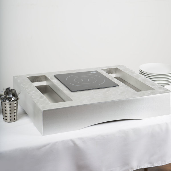 "Tablecraft CWACTION1RSA 31 3/8"" x 25 1/4"" x 5 3/4"" Random Swirl Aluminum Countertop Induction Station Kit"
