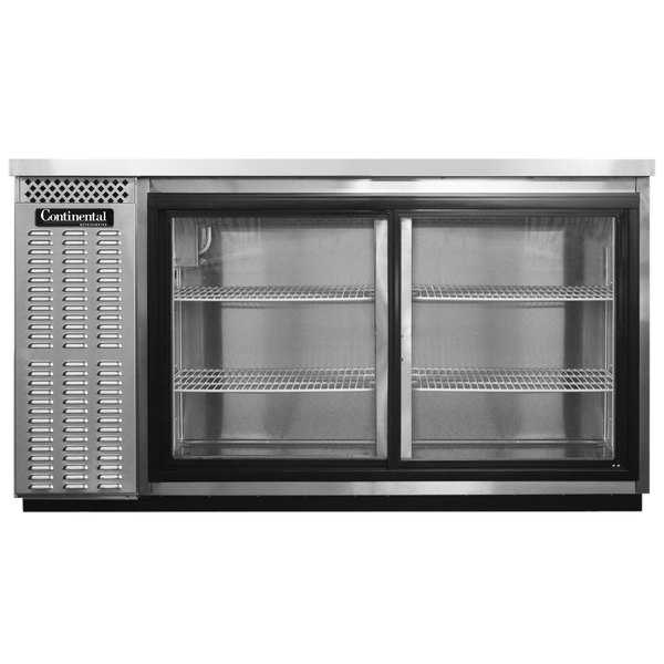 "Continental Refrigerator BBC59-SS-SGD 59"" Stainless Steel Sliding Glass Door Back Bar Refrigerator"