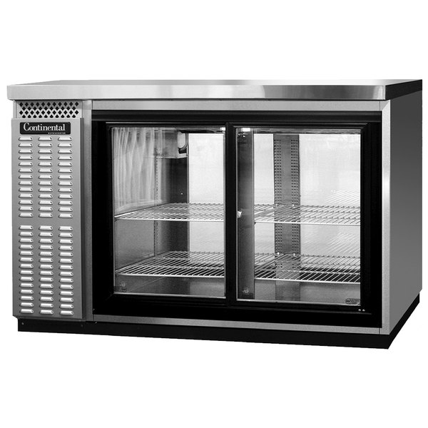 "Continental Refrigerator BB50NSSSGDPT 50"" Stainless Steel Pass-Through Sliding Glass Door Back Bar Refrigerator Main Image 1"
