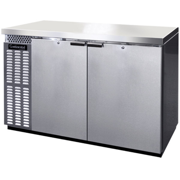 "Continental Refrigerator BB50SNSSPT 50"" Stainless Steel Shallow Depth Pass-Through Back Bar Refrigerator Main Image 1"