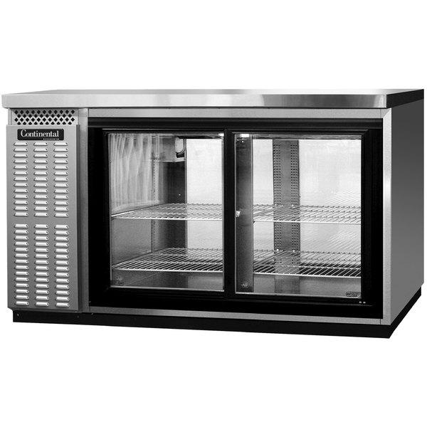 """Continental Refrigerator BBC59-SS-GD-PT 59"""" Stainless Steel Pass-Through Glass Door Back Bar Refrigerator"""