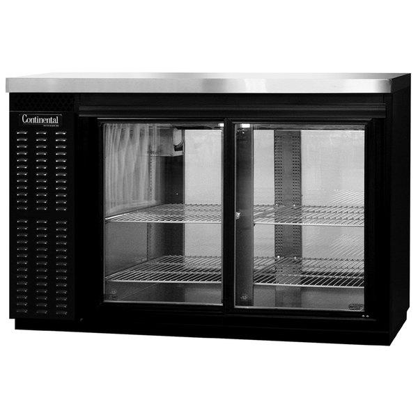 "Continental Refrigerator BB50SNSGDPT 50"" Black Shallow Depth Pass-Through Sliding Glass Door Back Bar Refrigerator Main Image 1"