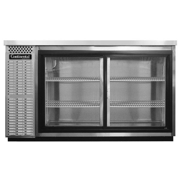"Continental Refrigerator BB50NSSSGD 50"" Stainless Steel Sliding Glass Door Back Bar Refrigerator Main Image 1"