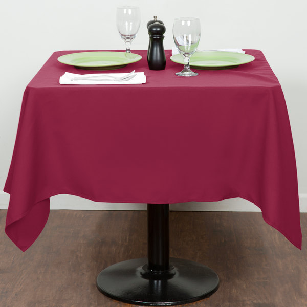 """54"""" x 54"""" Mauve 100% Polyester Hemmed Cloth Table Cover"""