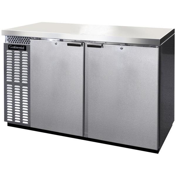 "Continental Refrigerator BBC59S-SS-PT 59"" Stainless Steel Shallow Depth Pass-Through Back Bar Refrigerator"