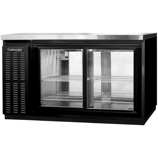 """Continental Refrigerator BB59NGDPT 59"""" Black Pass-Through Glass Door Back Bar Refrigerator Main Image 1"""