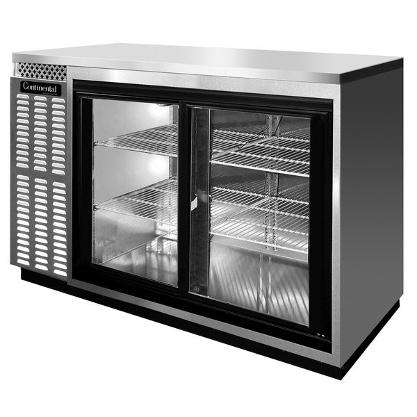 "Continental Refrigerator BBC59S-SS-SGD 59"" Stainless Steel Shallow Depth Sliding Glass Door Back Bar Refrigerator"