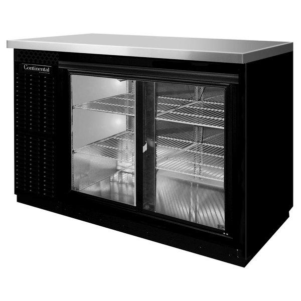 "Continental Refrigerator BB59SNSGD 59"" Black Shallow Depth Sliding Glass Door Back Bar Refrigerator Main Image 1"