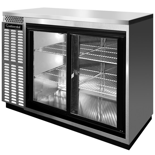 "Continental Refrigerator BBC50S-SS-SGD 50"" Stainless Steel Shallow Depth Sliding Glass Door Back Bar Refrigerator"