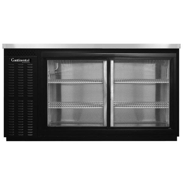 """Continental Refrigerator BB59NSGD 59"""" Black Sliding Glass Door Back Bar Refrigerator Main Image 1"""