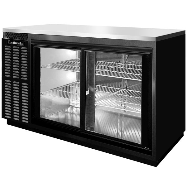 "Continental Refrigerator BBC69S-SGD 69"" Black Shallow Depth Sliding Glass Door Back Bar Refrigerator"