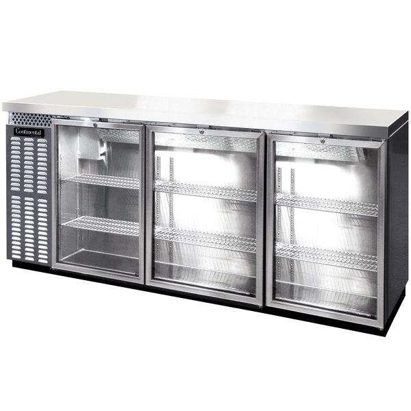 "Continental Refrigerator BBC90S-SS-GD-PT 90"" Stainless Steel Shallow Depth Pass-Through Glass Door Back Bar Refrigerator"