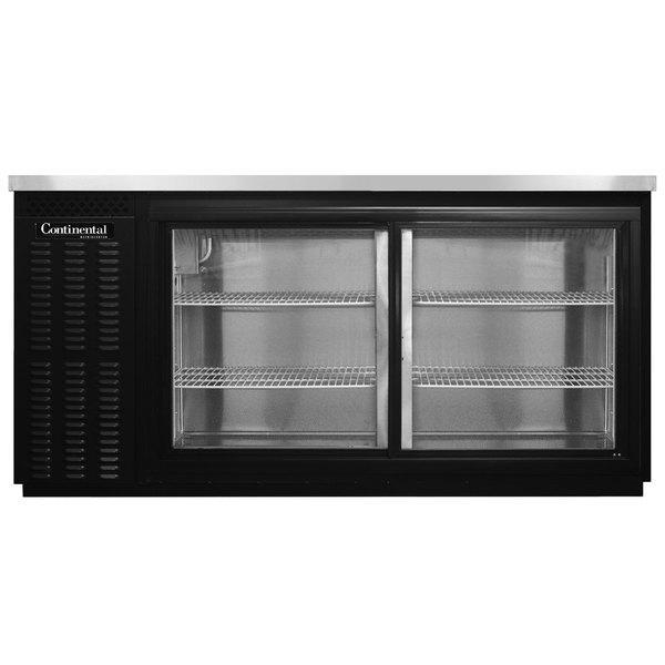 """Continental Refrigerator BB69NSGD 69"""" Black Sliding Glass Door Back Bar Refrigerator Main Image 1"""