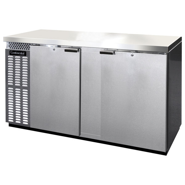 "Continental Refrigerator BBC69-SS-PT 69"" Stainless Steel Pass-Through Solid Door Back Bar Refrigerator"