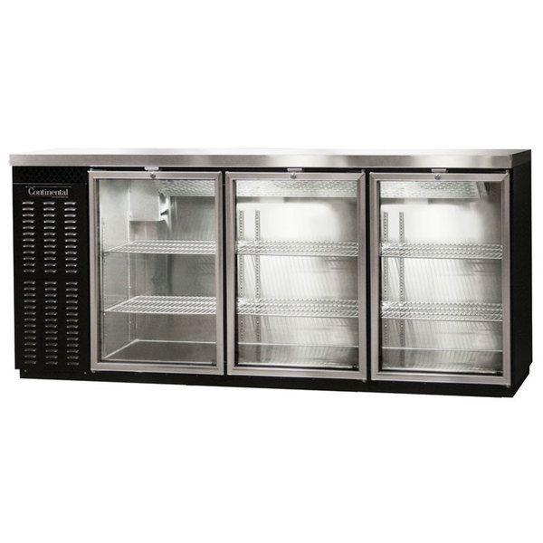 "Continental Refrigerator BBC79-GD-PT 79"" Black Pass-Through Glass Door Back Bar Refrigerator"
