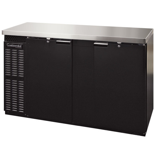 "Continental Refrigerator BBC69S-PT 69"" Black Shallow Depth Pass-Through Solid Door Back Bar Refrigerator"
