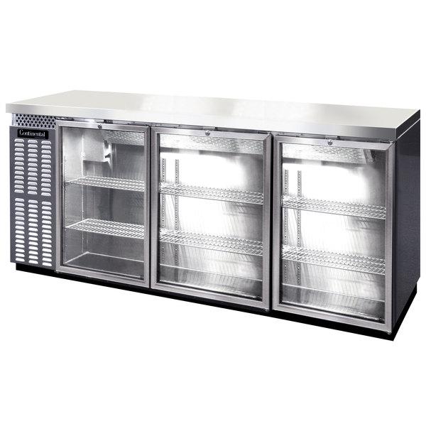 "Continental Refrigerator BBC79S-SS-GD-PT 79"" Stainless Steel Shallow Depth Pass-Through Glass Door Back Bar Refrigerator"