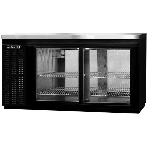 "Continental Refrigerator BBC69S-GD-PT 69"" Black Shallow Depth Pass-Through Glass Door Back Bar Refrigerator"