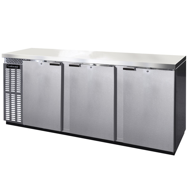"Continental Refrigerator BBC90-SS-PT 90"" Stainless Steel Pass-Through Solid Door Back Bar Refrigerator"
