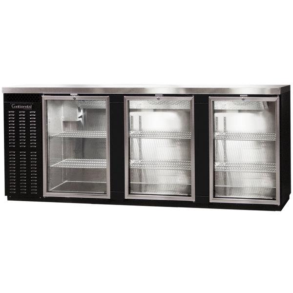"Continental Refrigerator BBC90S-GD-PT 90"" Black Shallow Depth Pass-Through Glass Door Back Bar Refrigerator"