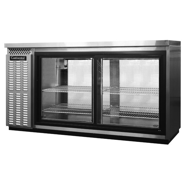 "Continental Refrigerator BBC69S-SS-SGD-PT 69"" Stainless Steel Shallow Depth Pass-Through Sliding Glass Door Back Bar Refrigerator"